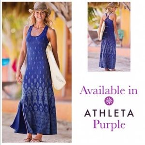 ATHLETA | printed ikat maxi dress purple M travel